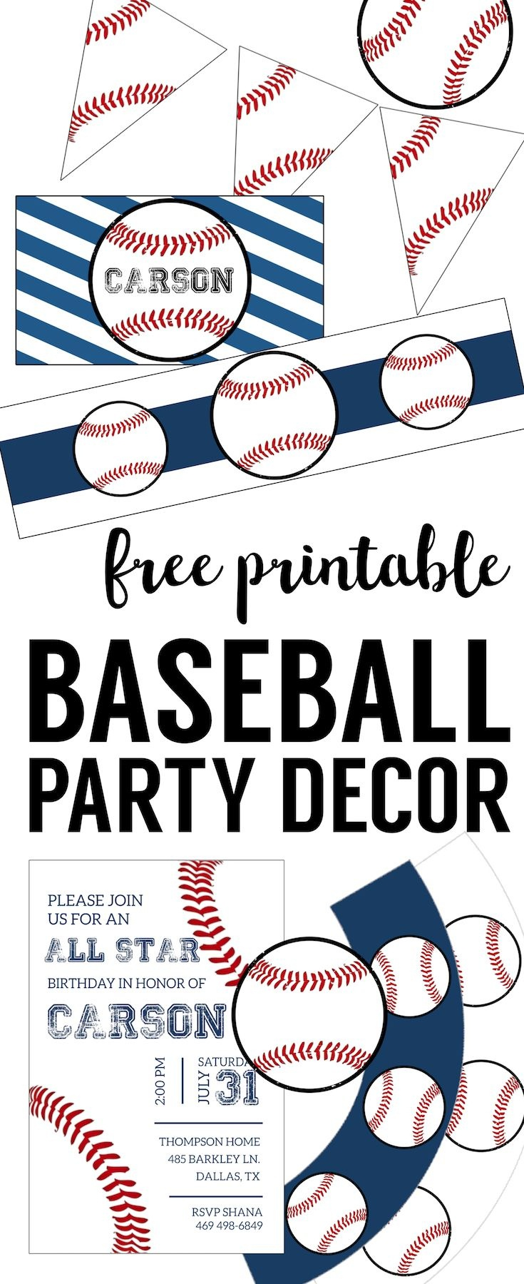Free Baseball Printables {Baseball Party Decorations} | Baseball - Free Baseball Printables