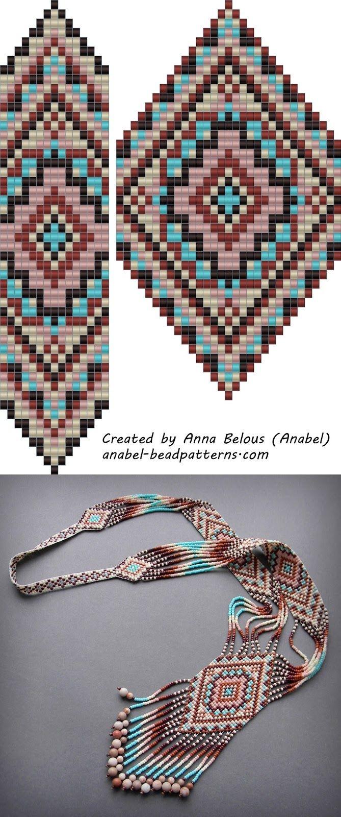 Free Bead Patterns Split Loom Necklace Beadwork Beadweaving - Free Printable Loom Bracelet Patterns