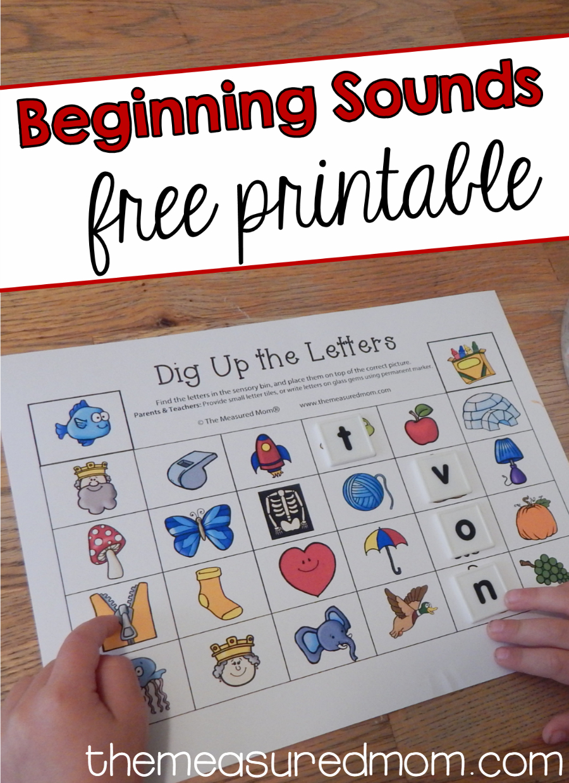 Free Beginning Sounds Printable Using Letter Tiles - The Measured Mom - Www Themeasuredmom Com Free Printables