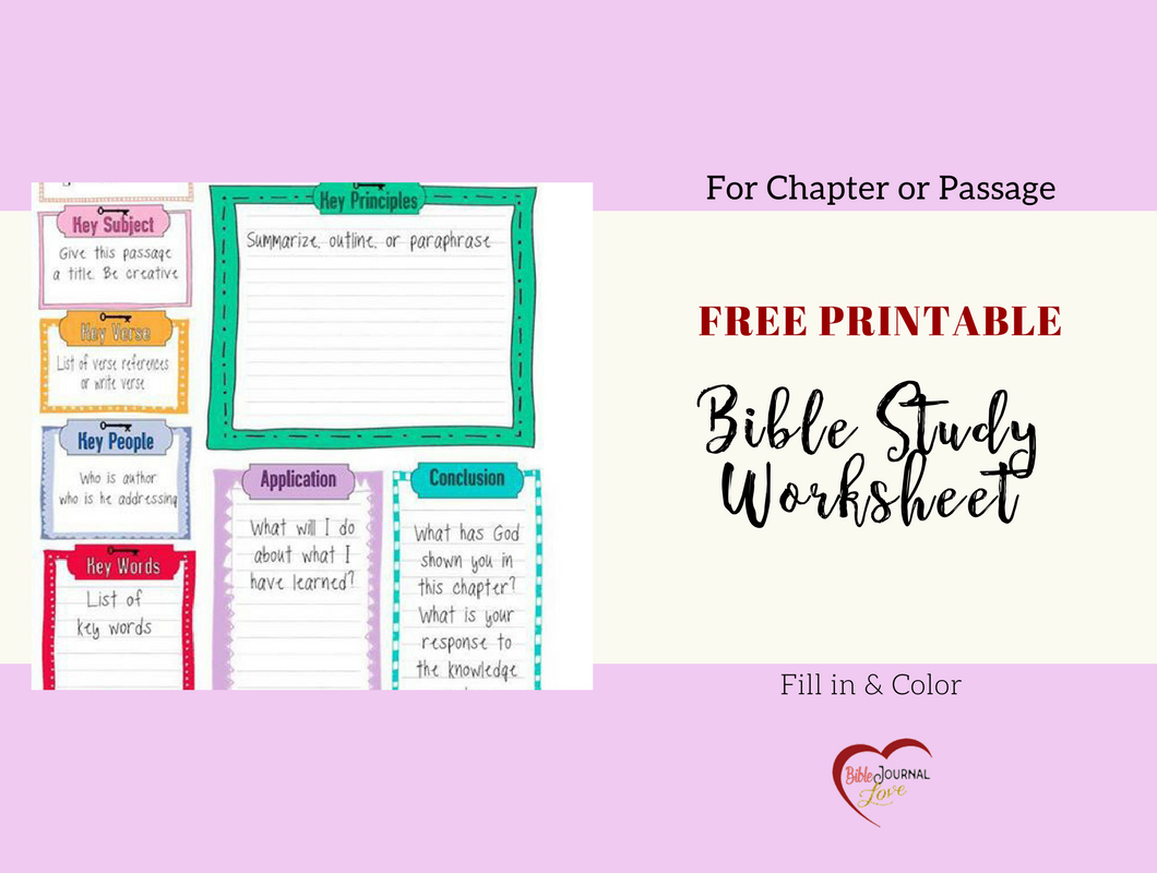 Free Bible Journal Key Worksheet – Bible Journal Love - Free Printable Kjv Bible Study Lessons