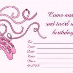 Free Birthday Invitations To Print For Kids: Choose Your Theme   Free Printable Ballerina Birthday Invitations