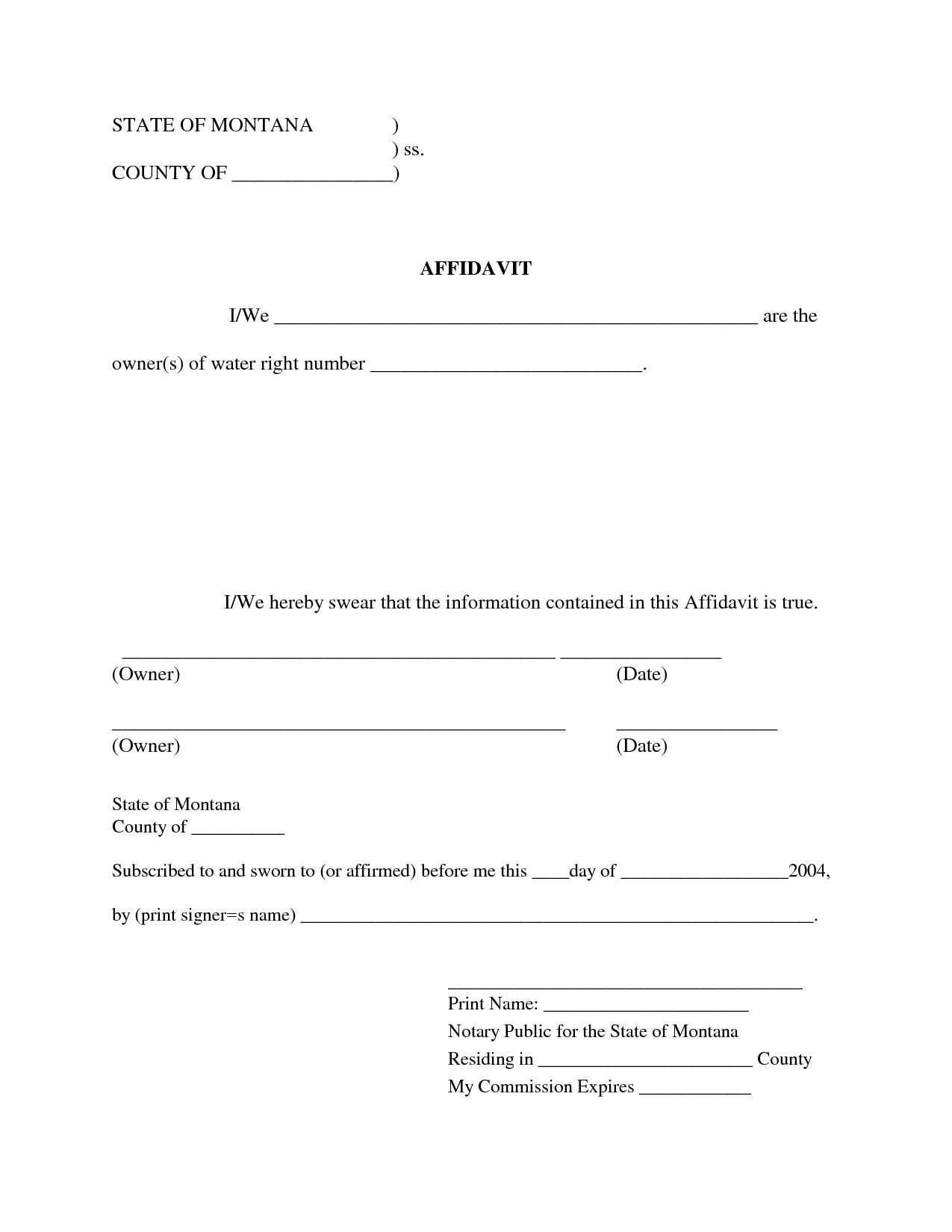Free Blank Affidavit Form | Blank Sworn Affidavit Forms | Kiss68One - Free Printable Blank Affidavit Form
