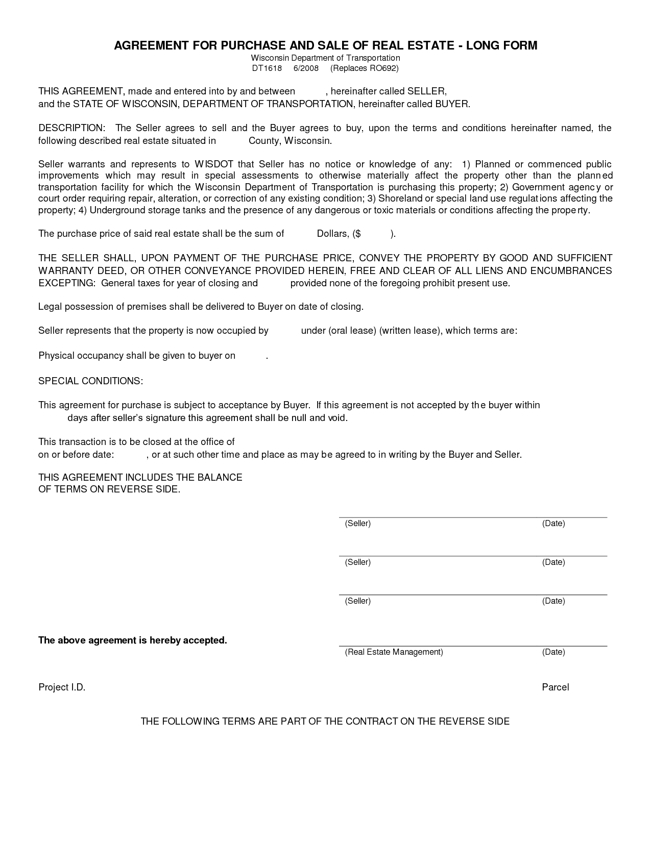 Free Blank Purchase Agreement Form Images - Agreement To Purchase - Free Printable Real Estate Purchase Agreement
