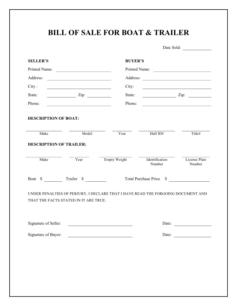 Free Boat & Trailer Bill Of Sale Form - Download Pdf | Word - Free Printable Bill Of Sell