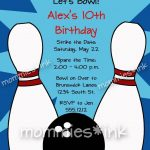 Free Bowling Party Invitations Templates With Blue Background Colors   Free Printable Bowling Invitation Templates