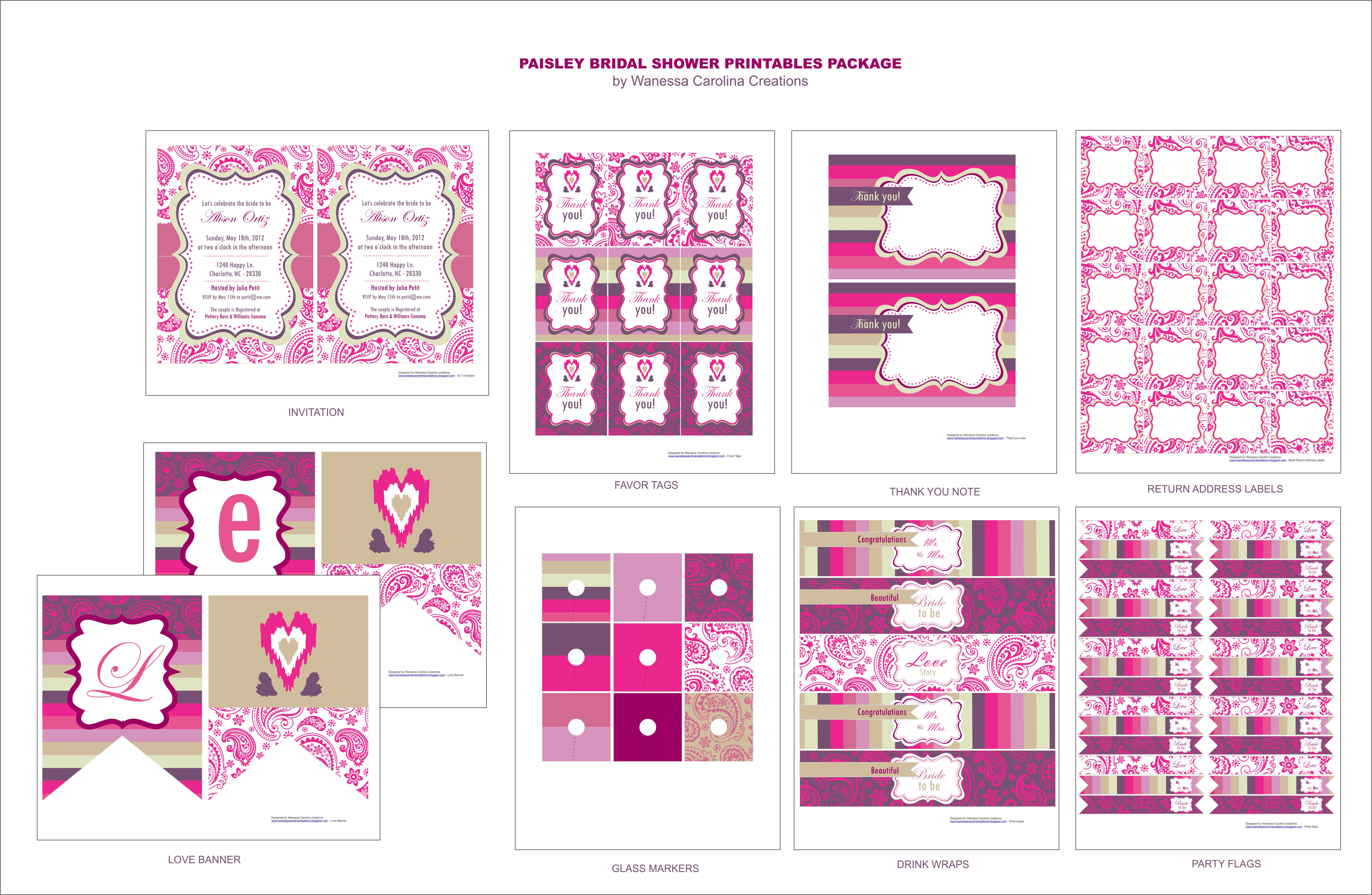 Free Bridal Shower Printables From Wanessa Carolina Creations - Free Bridal Shower Printable Decorations