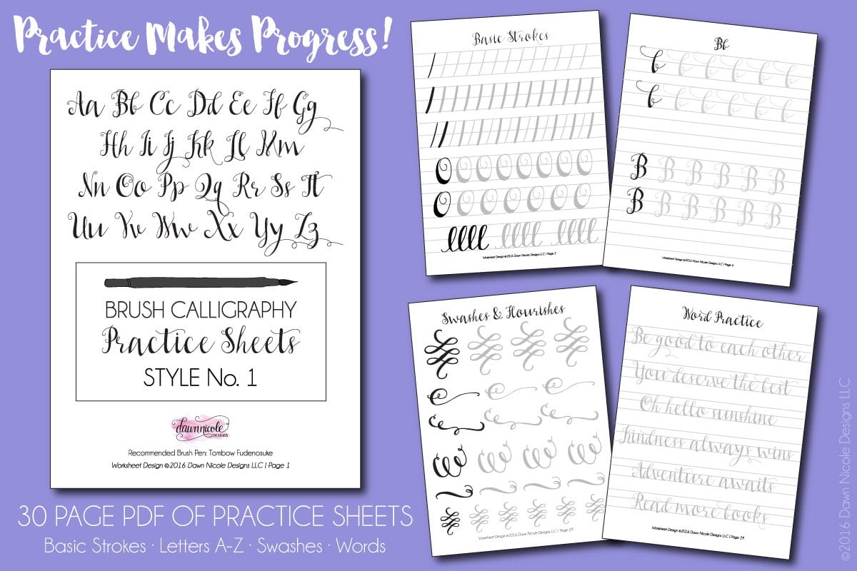 Free Brush Calligraphy Practice Worksheets | Dawn Nicole Designs® - Free Calligraphy Printables