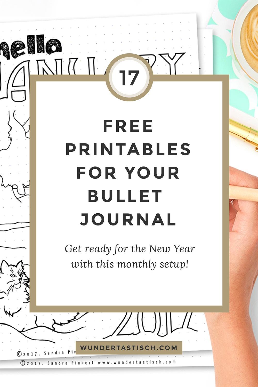 Free Bullet Journal Printable Kit January 2017 - Wundertastisch - Free Bullet Journal Printables 2017