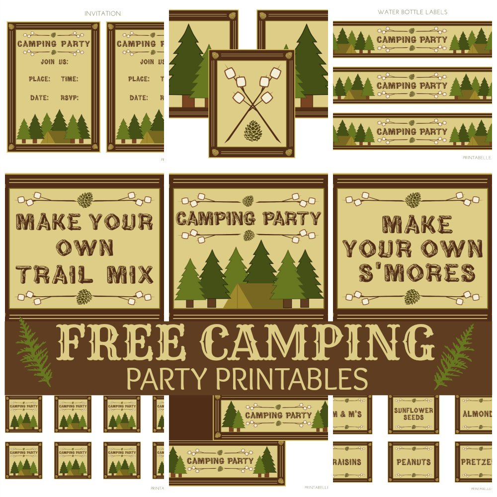 Free Camping Party Printables From Printabelle | Catch My Party - Free Camping Party Printables