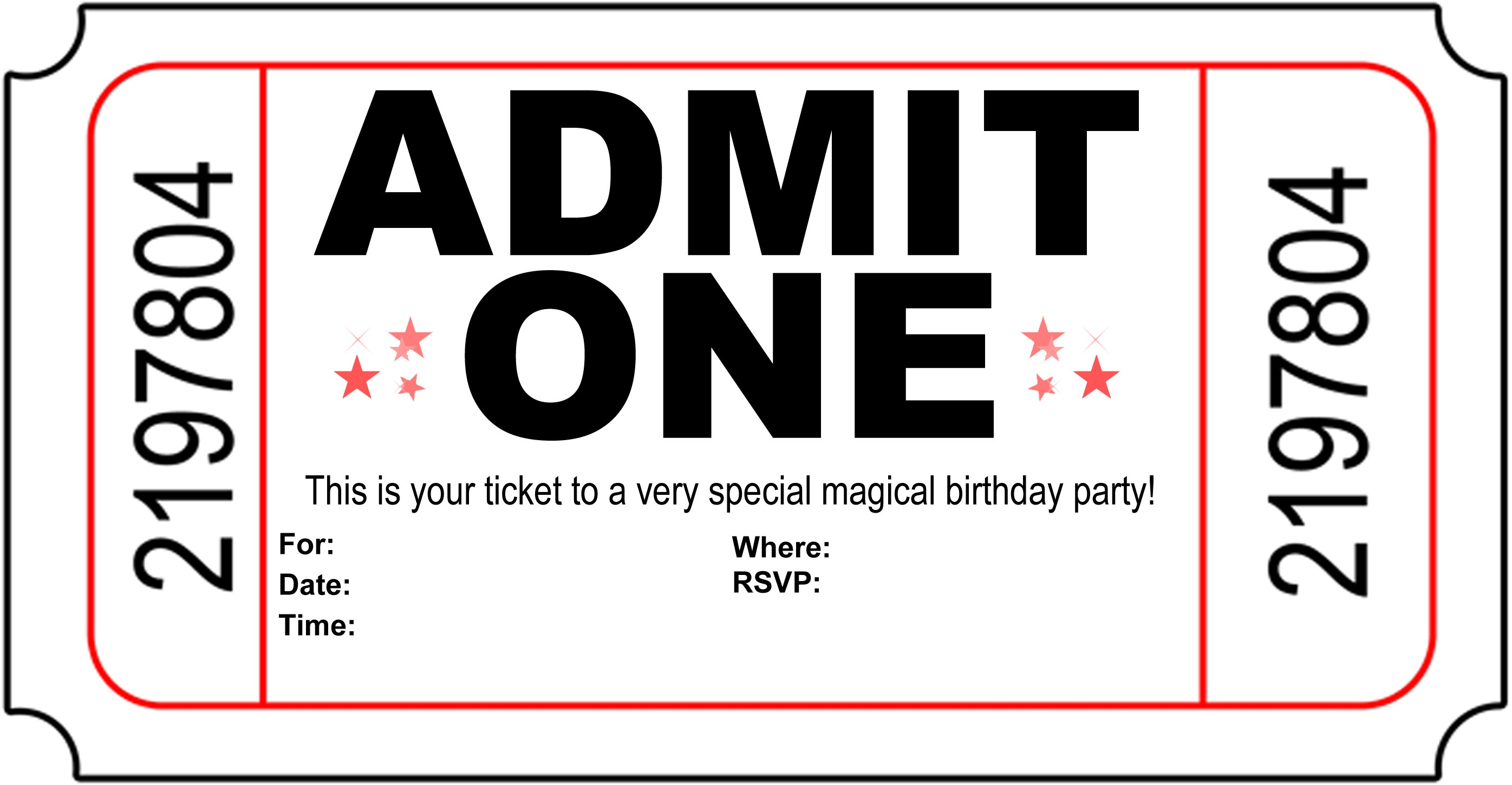 Free Carnival Ticket Invitation Template, Download Free Clip Art - Free Printable Admit One Invitations