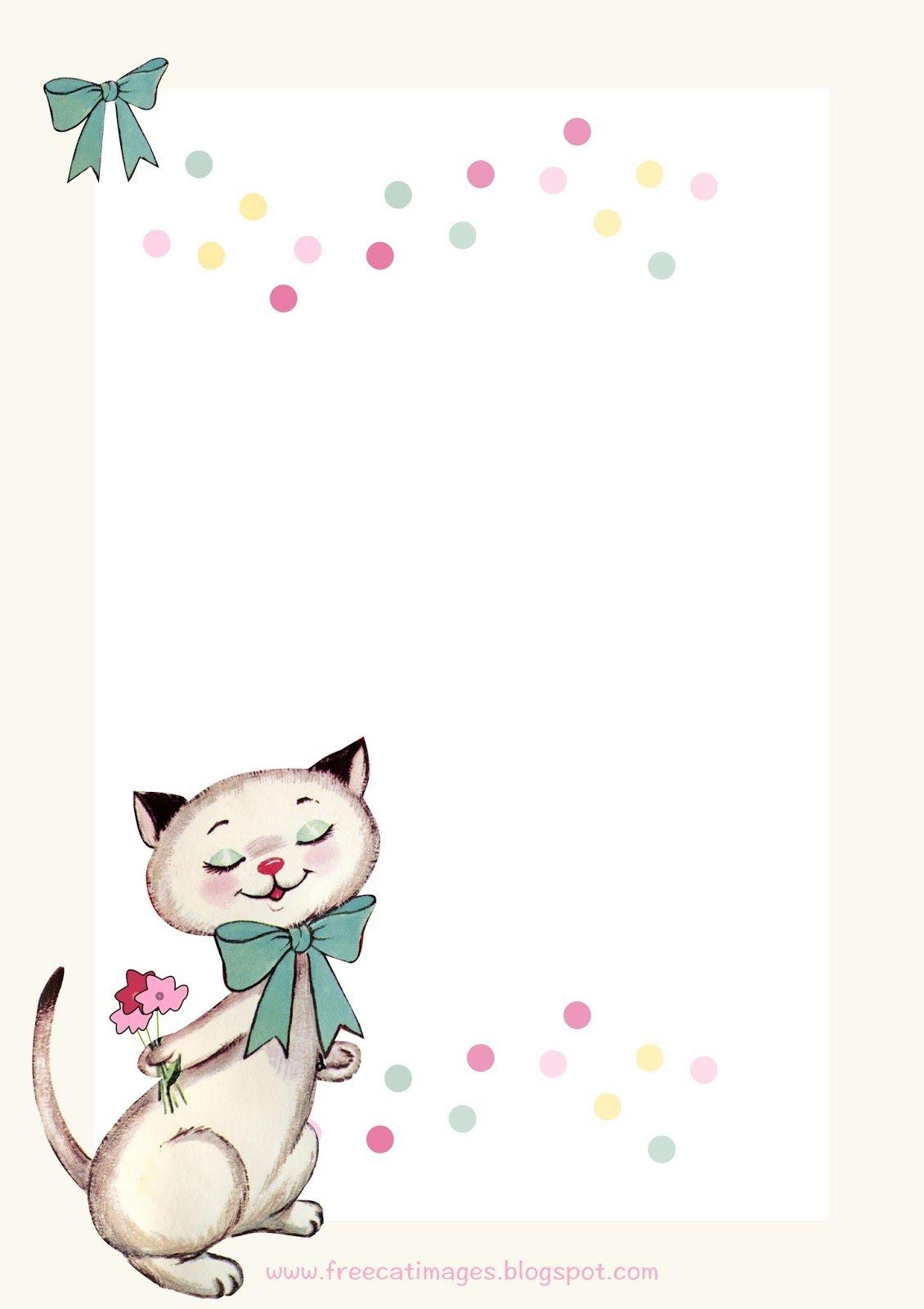 Free Cat Images: Free Printable Vintage Kitty Stationery - Freebie - Free Printable Kitten Birthday Invitations