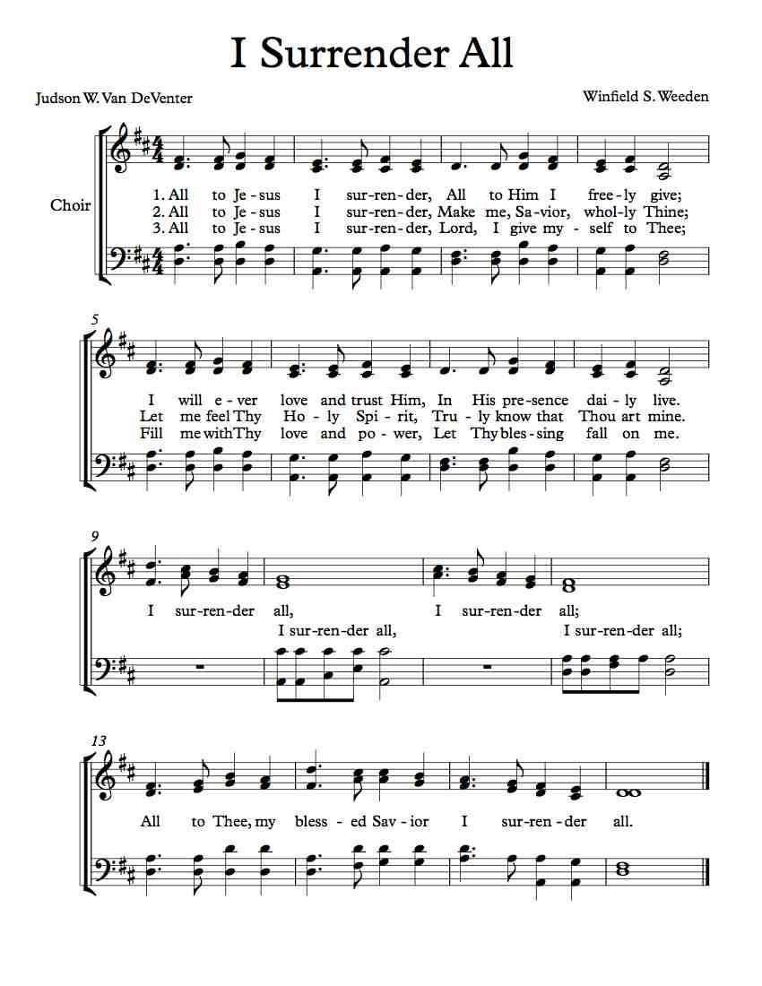 Free Choir Sheet Music – I Surrender All | Free Sheet Music | Music - Free Printable Sheet Music Lyrics