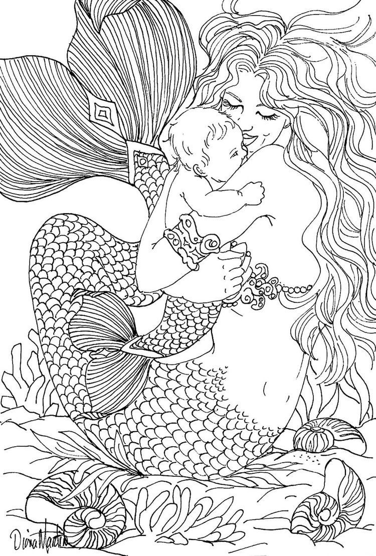 Free Coloring Page Coloring-Adult-Mermaid-And-Child-Drawing-By-Diana - Free Printable Mermaid Coloring Pages For Adults