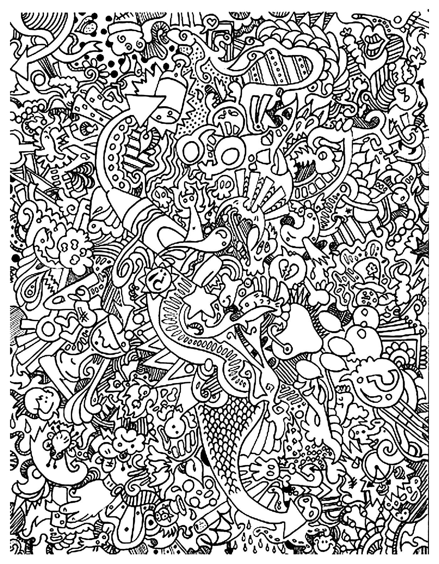 Free Coloring Page Coloring-Doodle-Art-Doodling-18. Very Complex - Free Printable Doodle Art Coloring Pages
