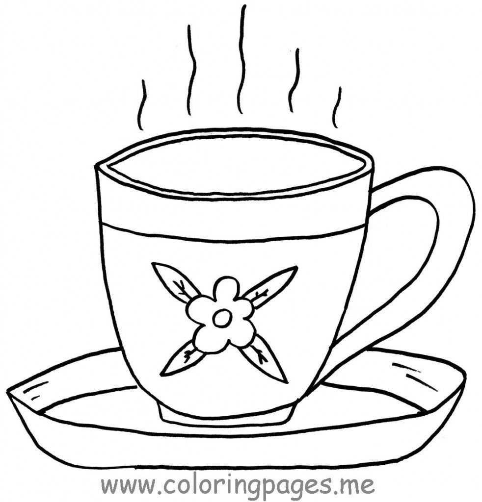 Free Coloring S Of Teacup Tea Cup Coloring Page In Uncategorized - Free Printable Tea Cup Coloring Pages
