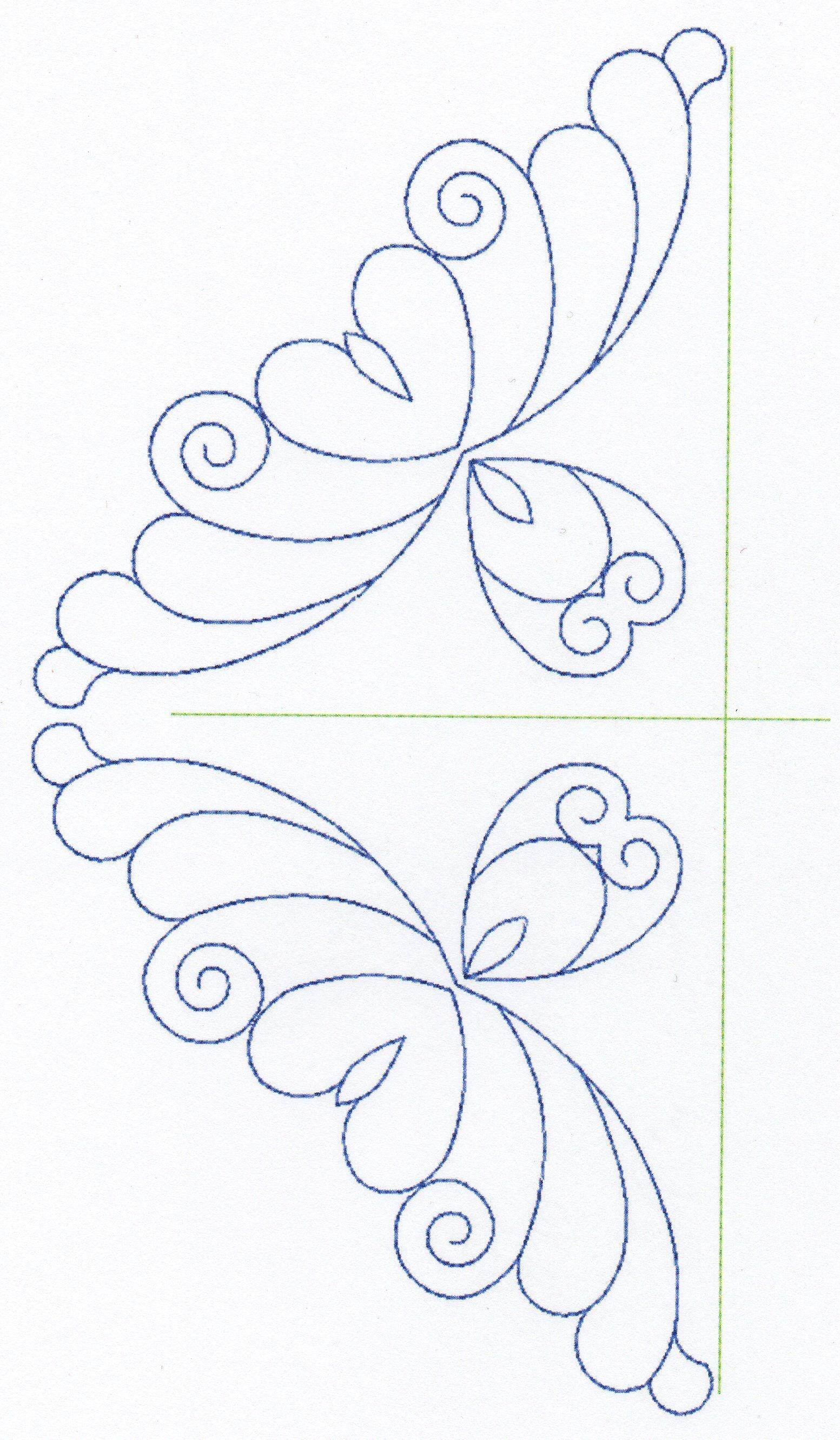 Free Continuous Machine Quilting Designs | Feather Quilting Design - Free Printable Machine Quilting Designs