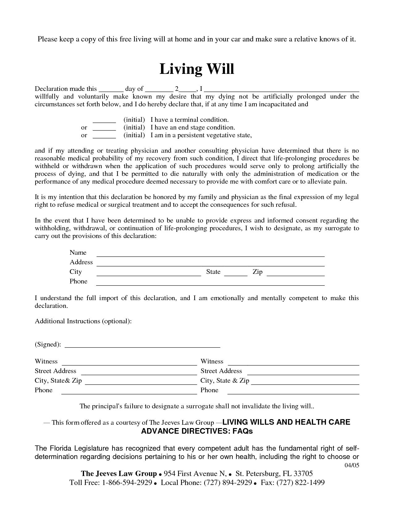 Free Copy Of Living Willrichard_Cataman - Living Will Sample - Free Printable Living Will