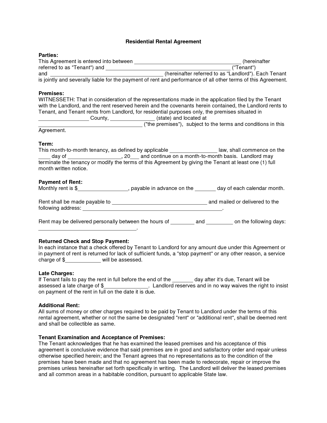 Free Copy Rental Lease Agreement | Residential Rental Agreement - Free Printable Rental Lease Agreement