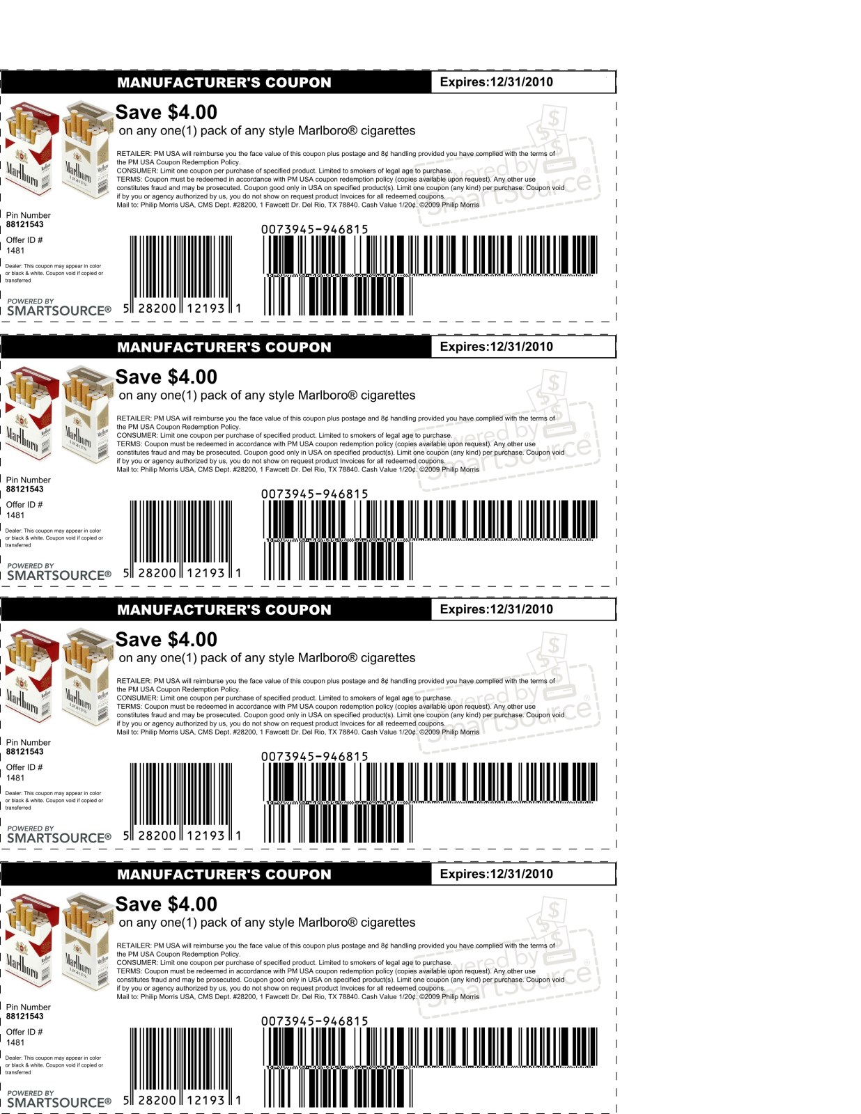 Free Coupons For Marlboro Cigarettes / Coupons 30 Off - Free Pack Of Cigarettes Printable Coupon