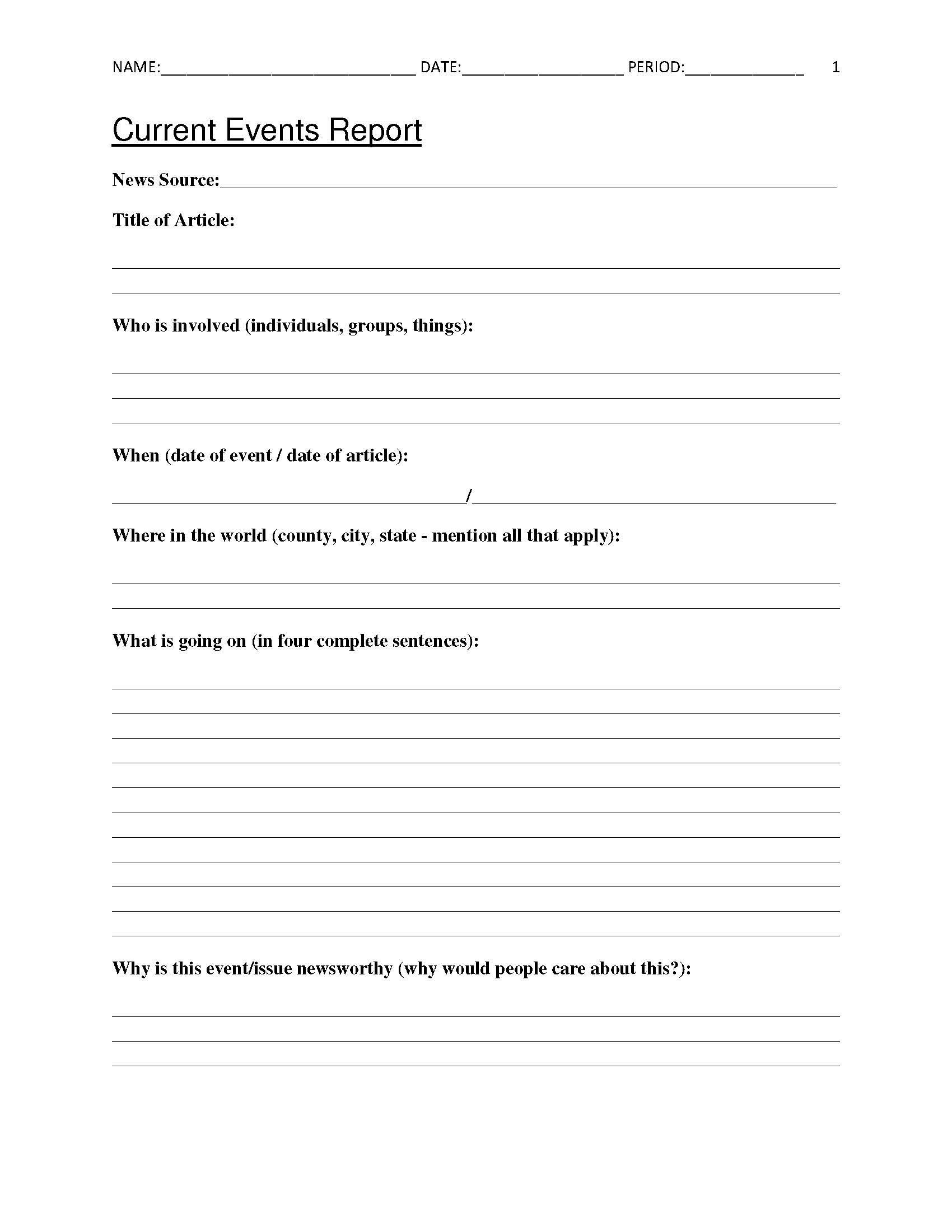 Free Current Events Report Worksheet For Classroom Teachers - Free Printable Social Studies Worksheets For 8Th Grade