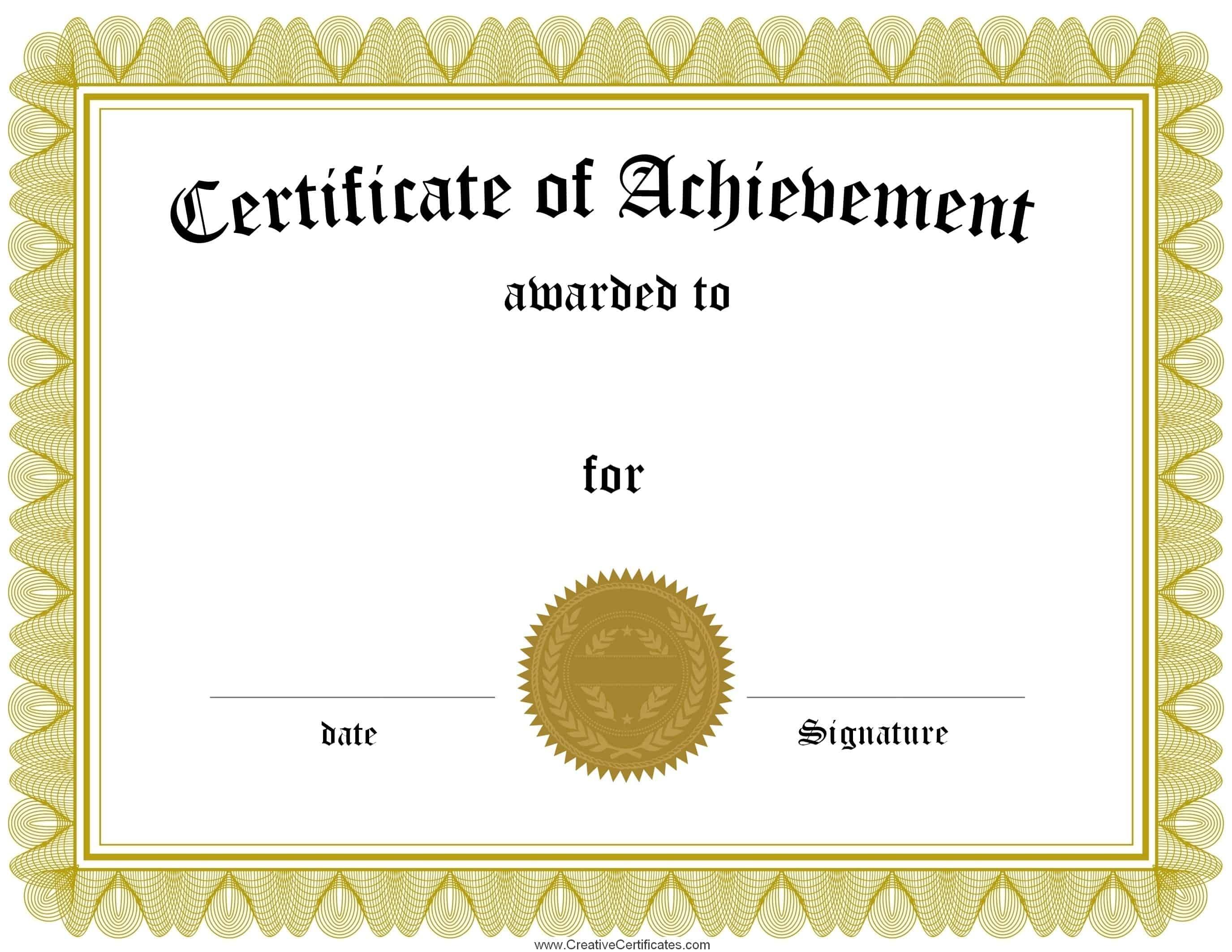 Free Customizable Certificate Of Achievement - Free Printable Certificates Of Achievement
