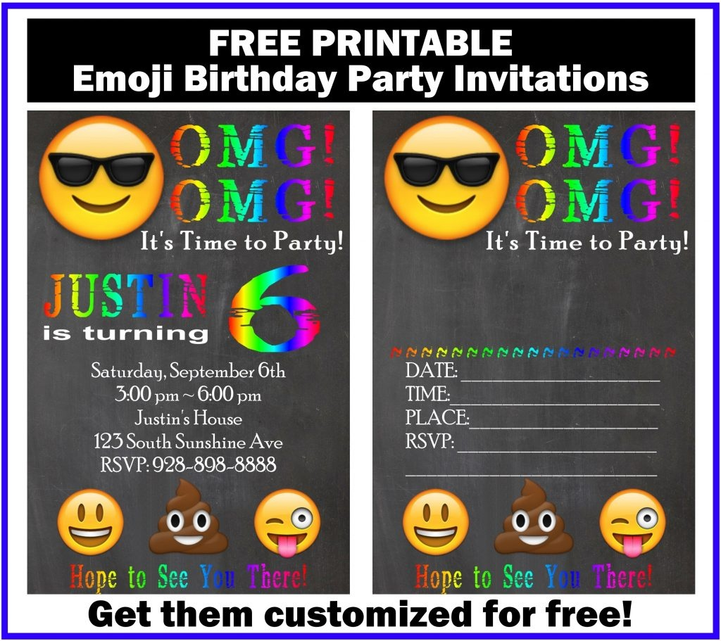 Free Customized Emoji Invitations And Birthday Printables - Free Emoji Party Printables