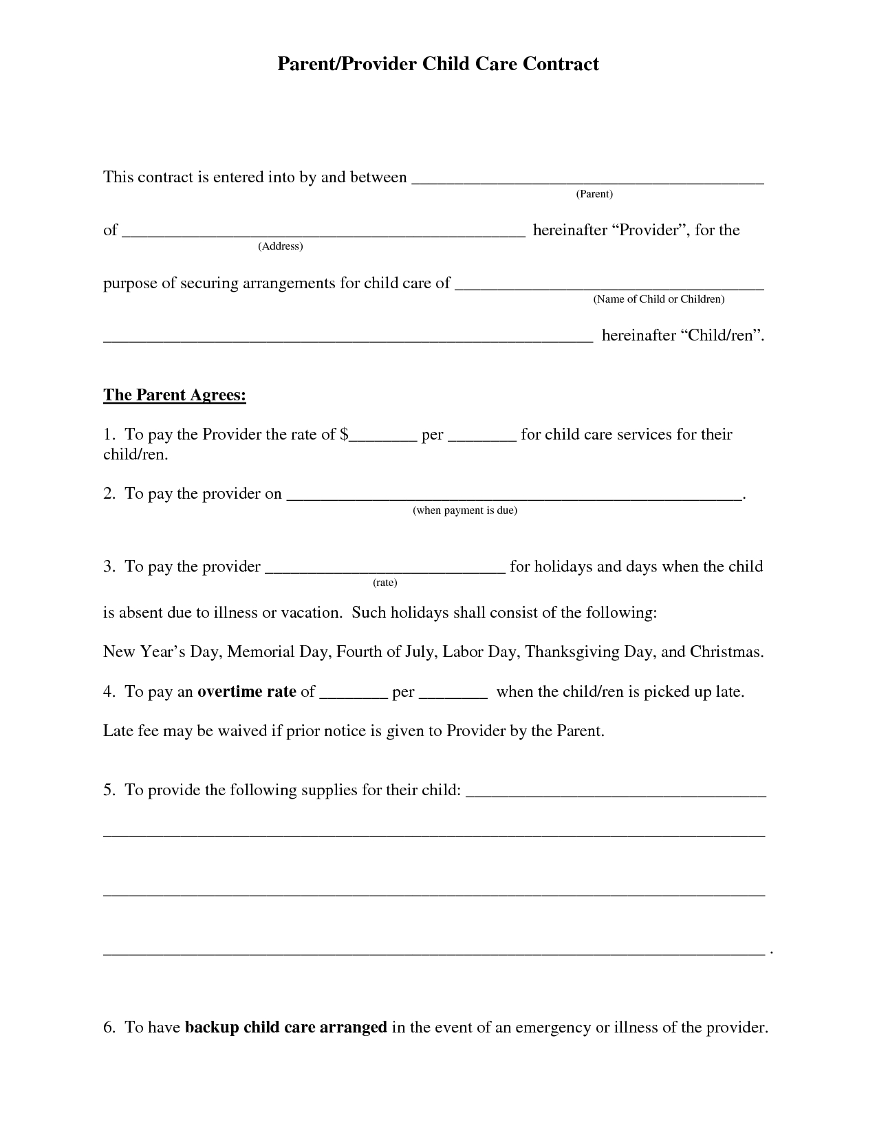 Free Daycare Contract Forms | Daycare Forms | Daycare Contract - Free Printable Contracts