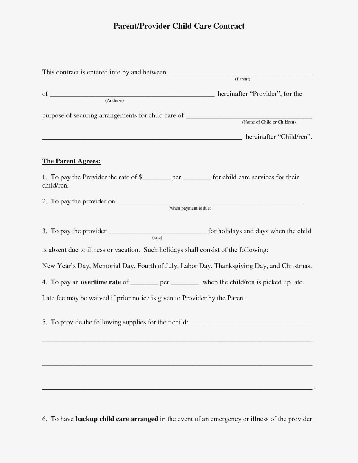 Free Daycare Contract Forms | Daycare Forms | Pinterest | Daycare - Free Printable Daycare Forms For Parents