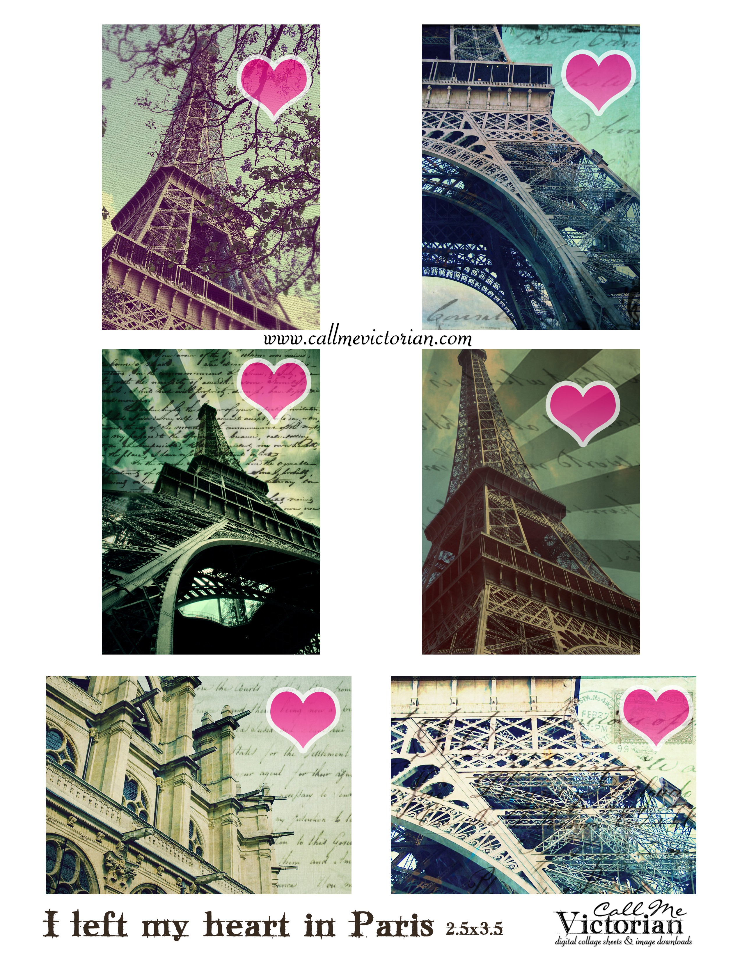 Free Digital Collage Sheet - I Left My Heart In Paris   Call Me - Free Printable Digital Collage Sheets