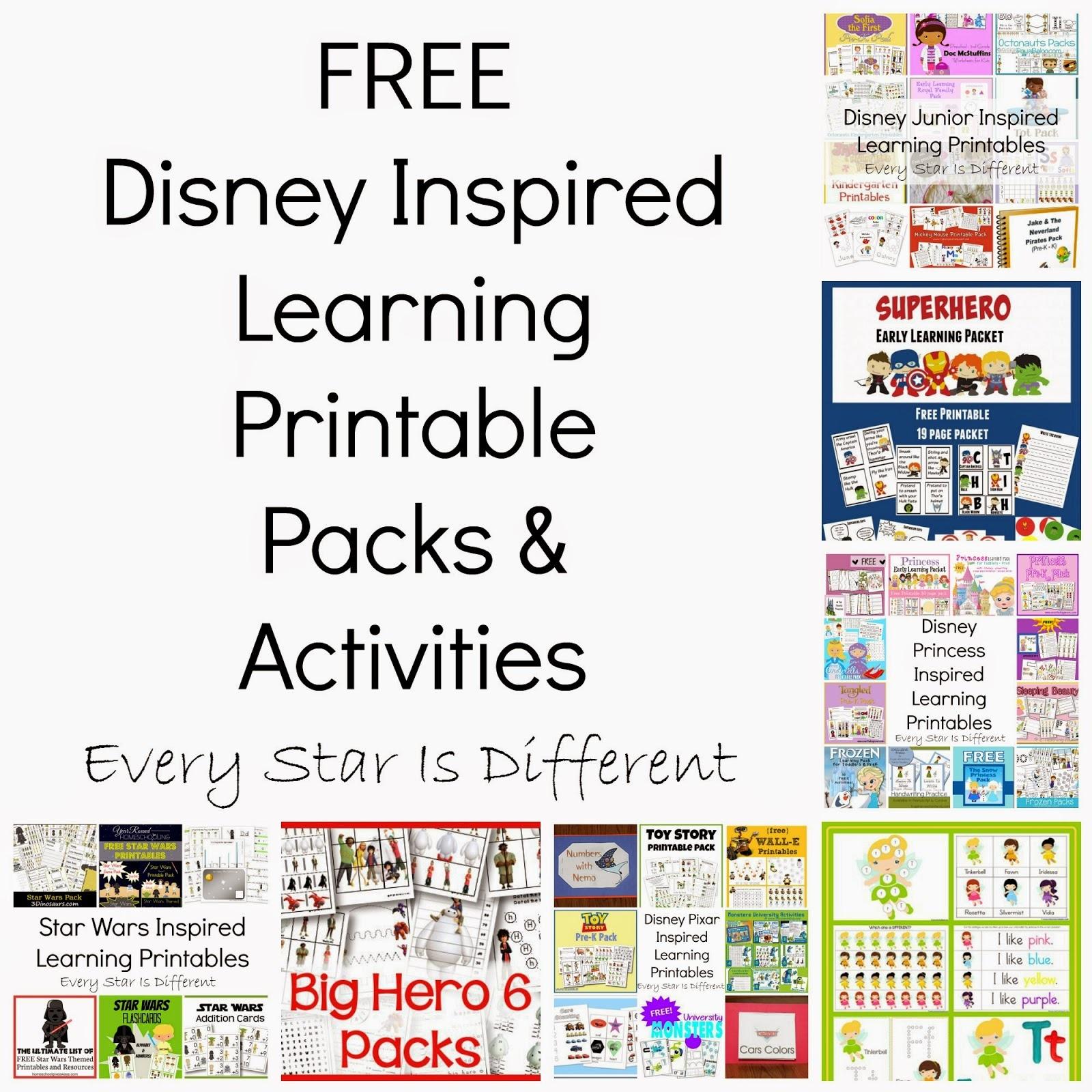 Free Disney Inspired Learning Printable Packs & Activities - Every - Free Disney Printables