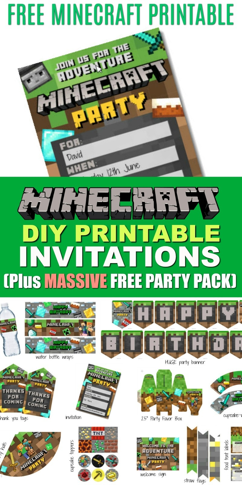 Free Diy Printable Minecraft Birthday Invitation - Clean Eating With - Free Minecraft Party Printables