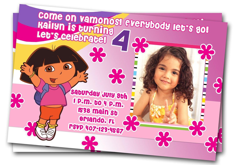 "Free Dora Birthday Card Invitations €"" Birthday Card Ideas | Diy - Free Dora Party Printables"
