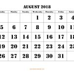 Free Download Printable August 2018 Calendar, Large Font Design   Large Printable Fonts Free