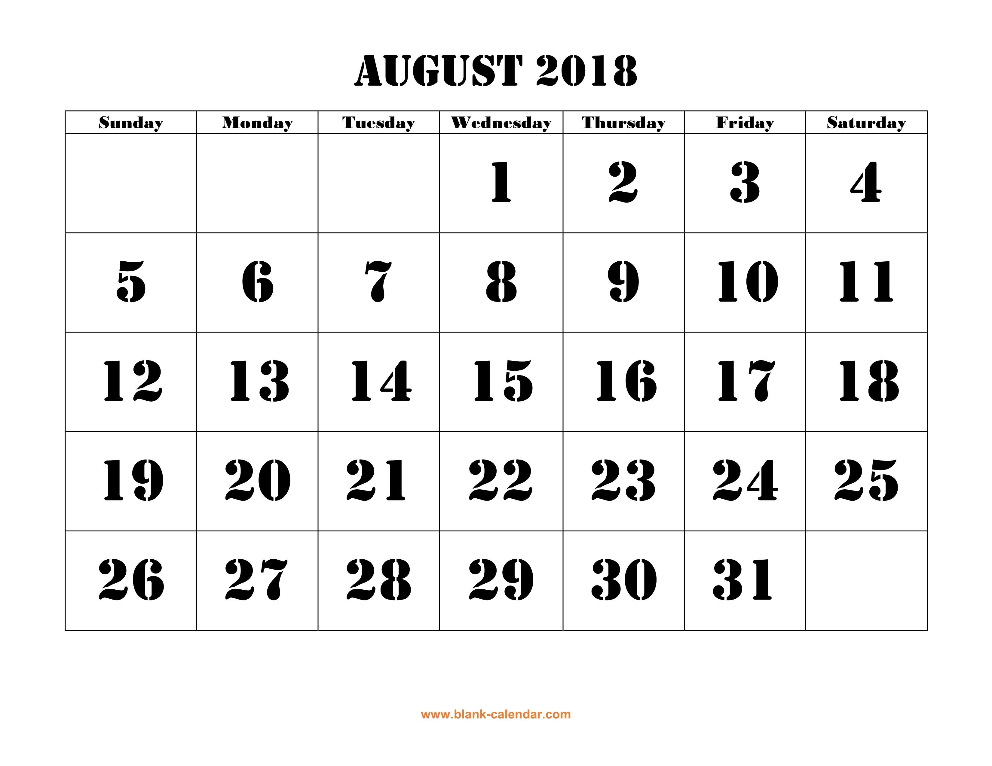 Free Download Printable August 2018 Calendar, Large Font Design - Large Printable Fonts Free