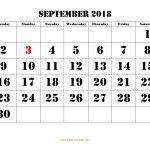 Free Download Printable September 2018 Calendar, Large Font Design   Large Printable Fonts Free