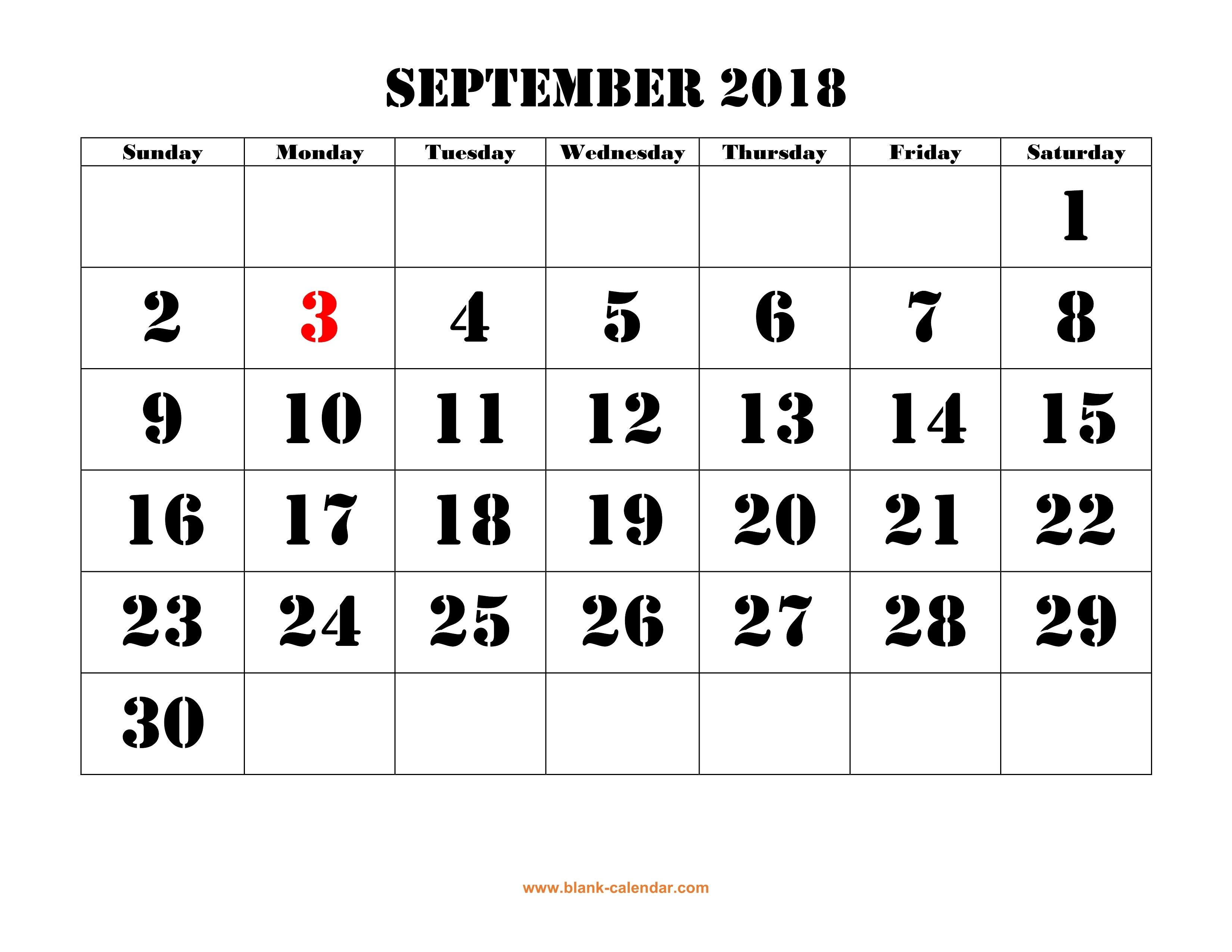 Free Download Printable September 2018 Calendar, Large Font Design - Large Printable Fonts Free