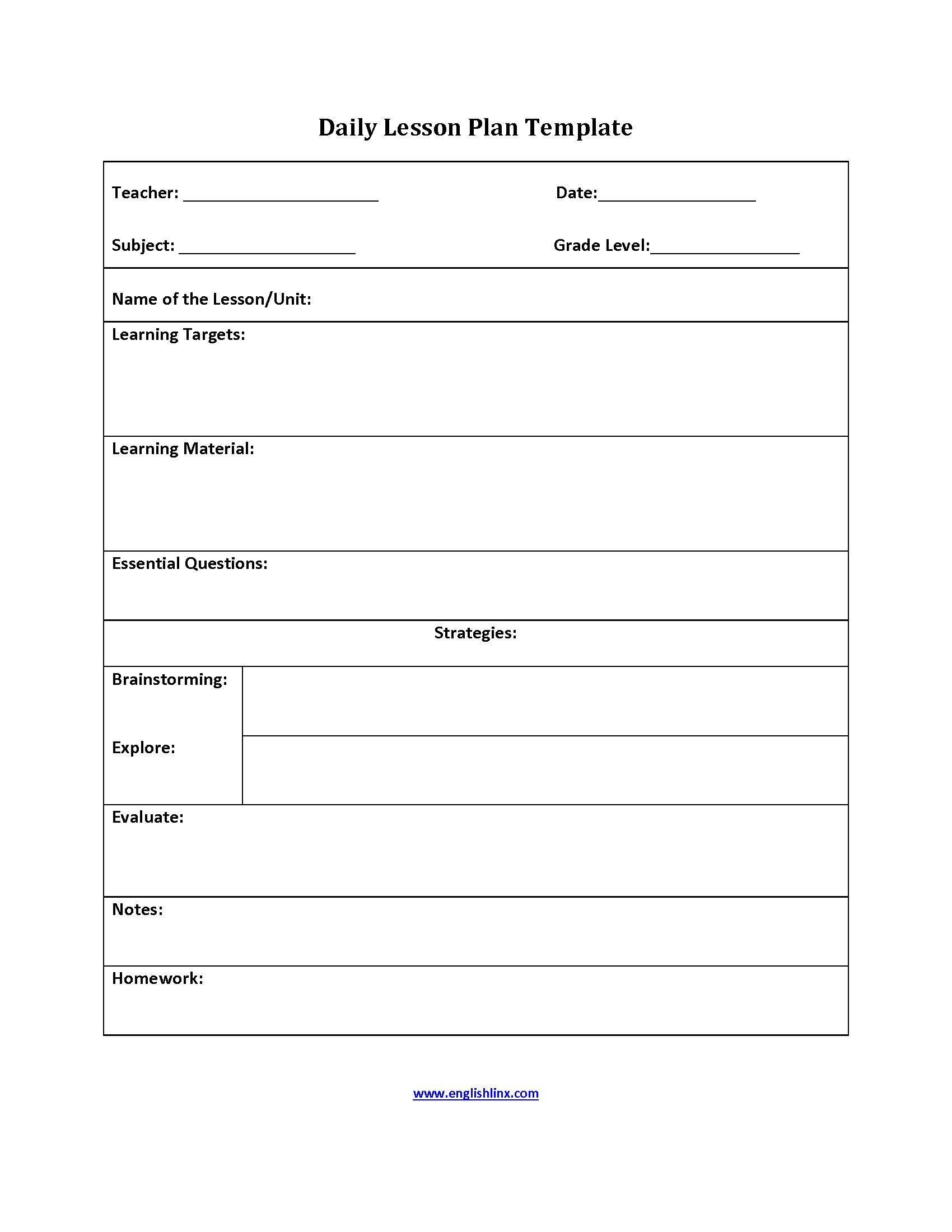 Free Downloadable Lesson Plan Format Templates Printable Template - Free Printable Daily Lesson Plan Template