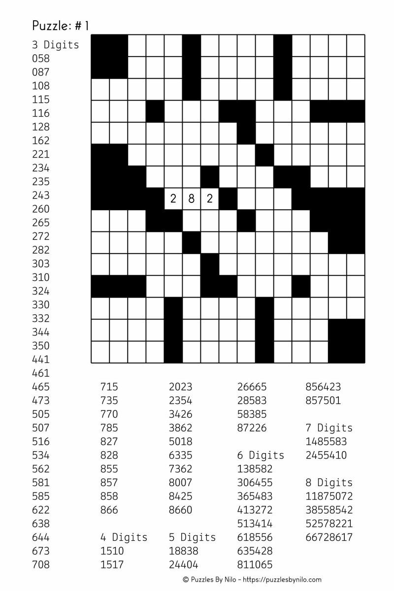 Free Downloadable Number Fill In Puzzle - # 001 - Get Yours Now - Free Printable Puzzles