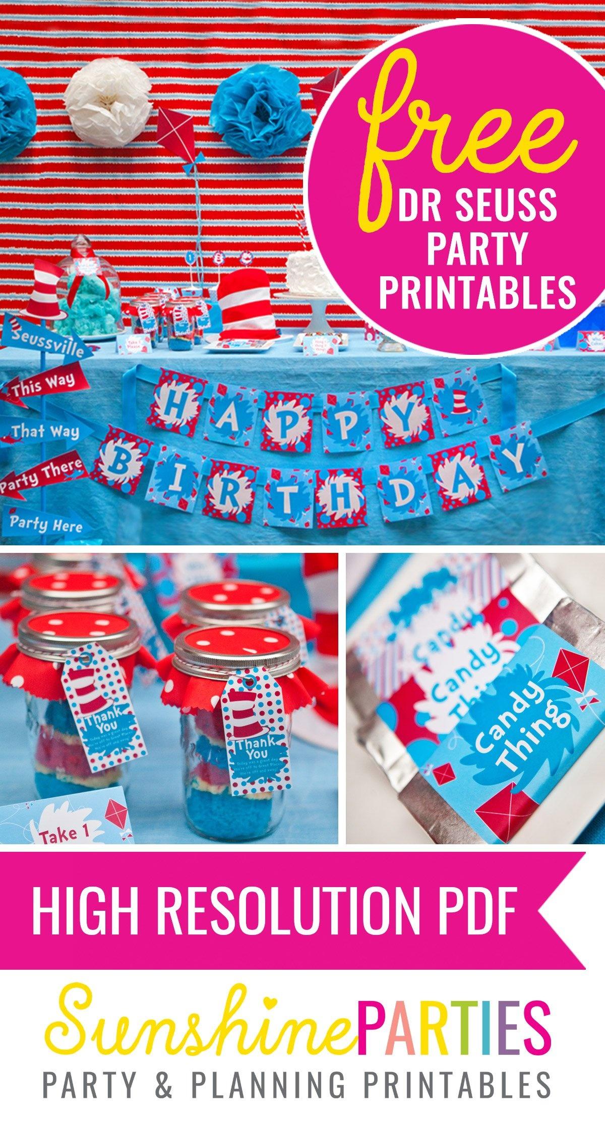Free Dr Seuss Party Printables! - Sunshine Parties - Dr Seuss Free Printables