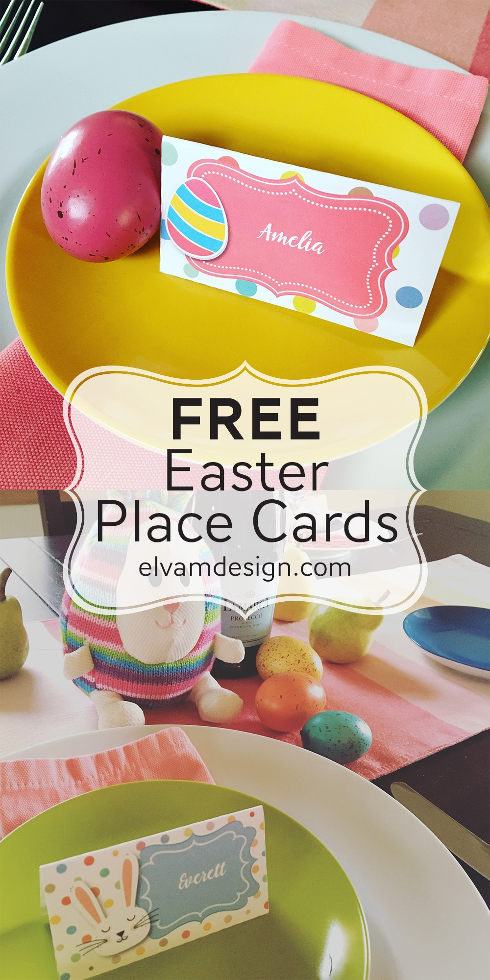 Free Easter Place Card (Or Food Tents) - Elva M Design Studio - Free Easter Place Cards Printable