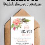Free Editable Bridal Shower Invitation Watercolor Flowers Pdf   Free Printable Bridal Shower Cards