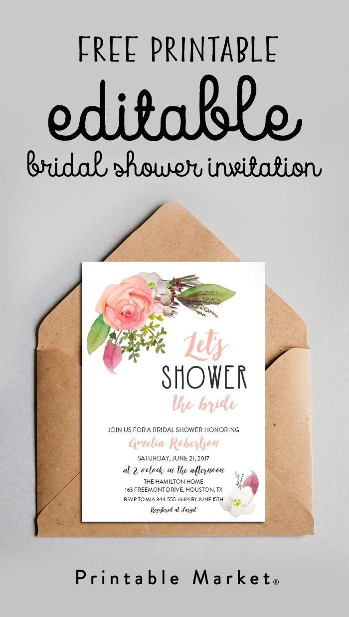 Free Editable Bridal Shower Invitation Watercolor Flowers Pdf - Invitations Bridal Shower Free Printable