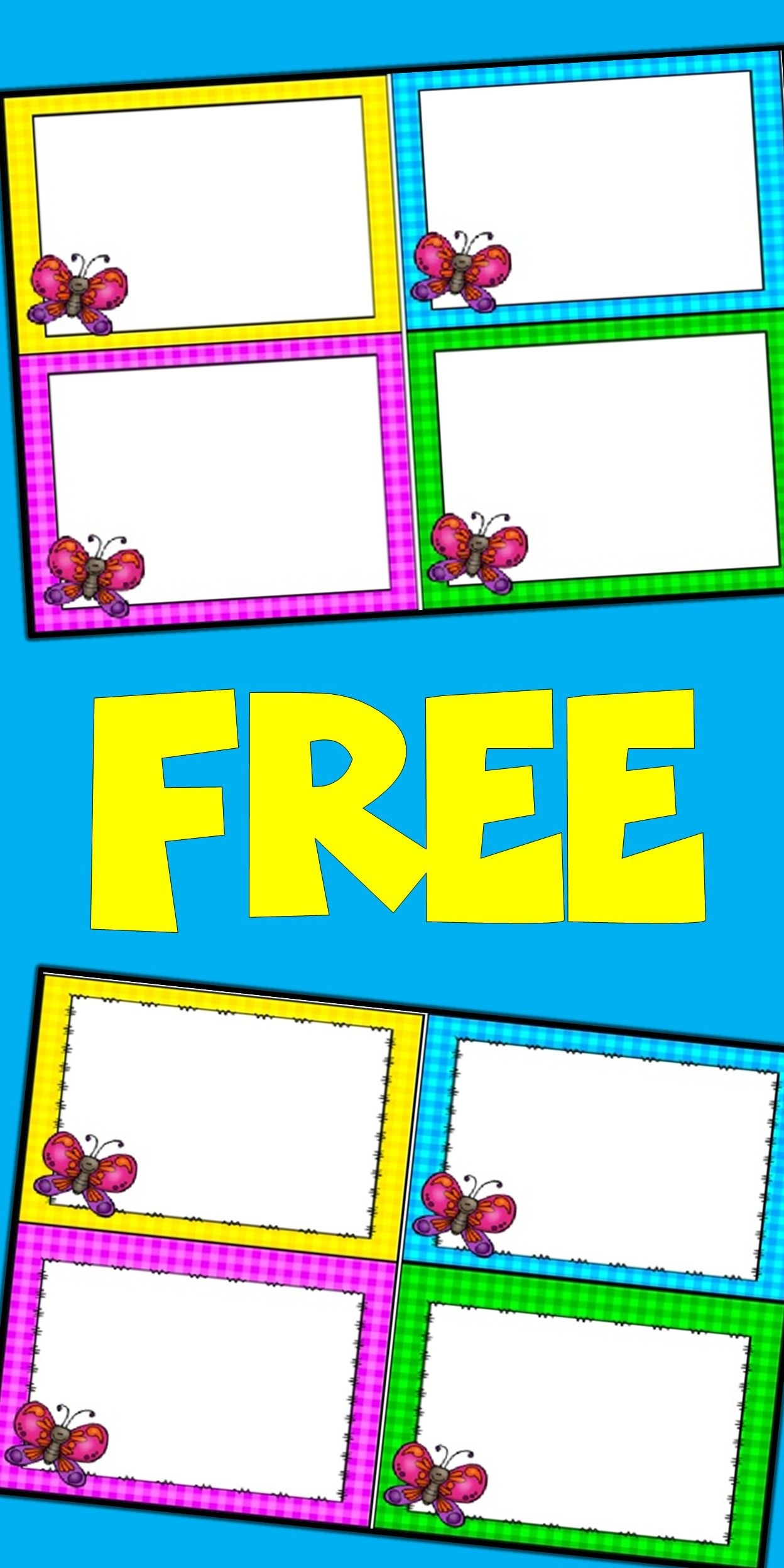 Free Editable Spring Card Templates | Butterflies | Butterfly - Free Printable Blank Task Cards