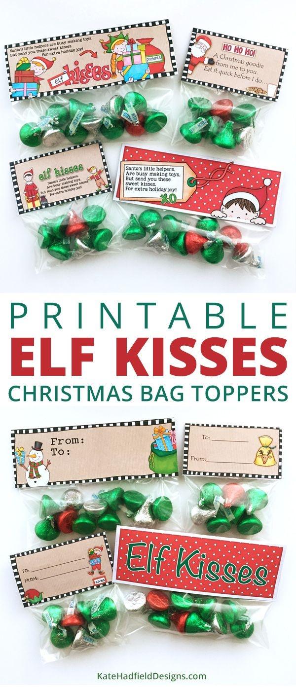 Free Elf Kisses Bag Toppers   Christmas Theme   Christmas Treat Bags - Free Printable Christmas Bag Toppers