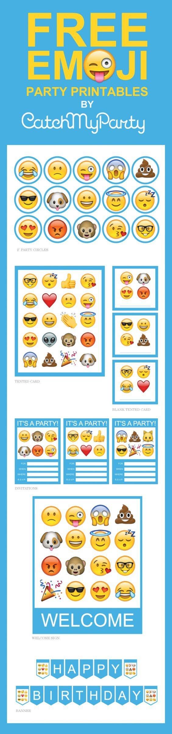 Free Emoji Party Printables Including Invitations, Cupcake Toppers - Free Emoji Party Printables