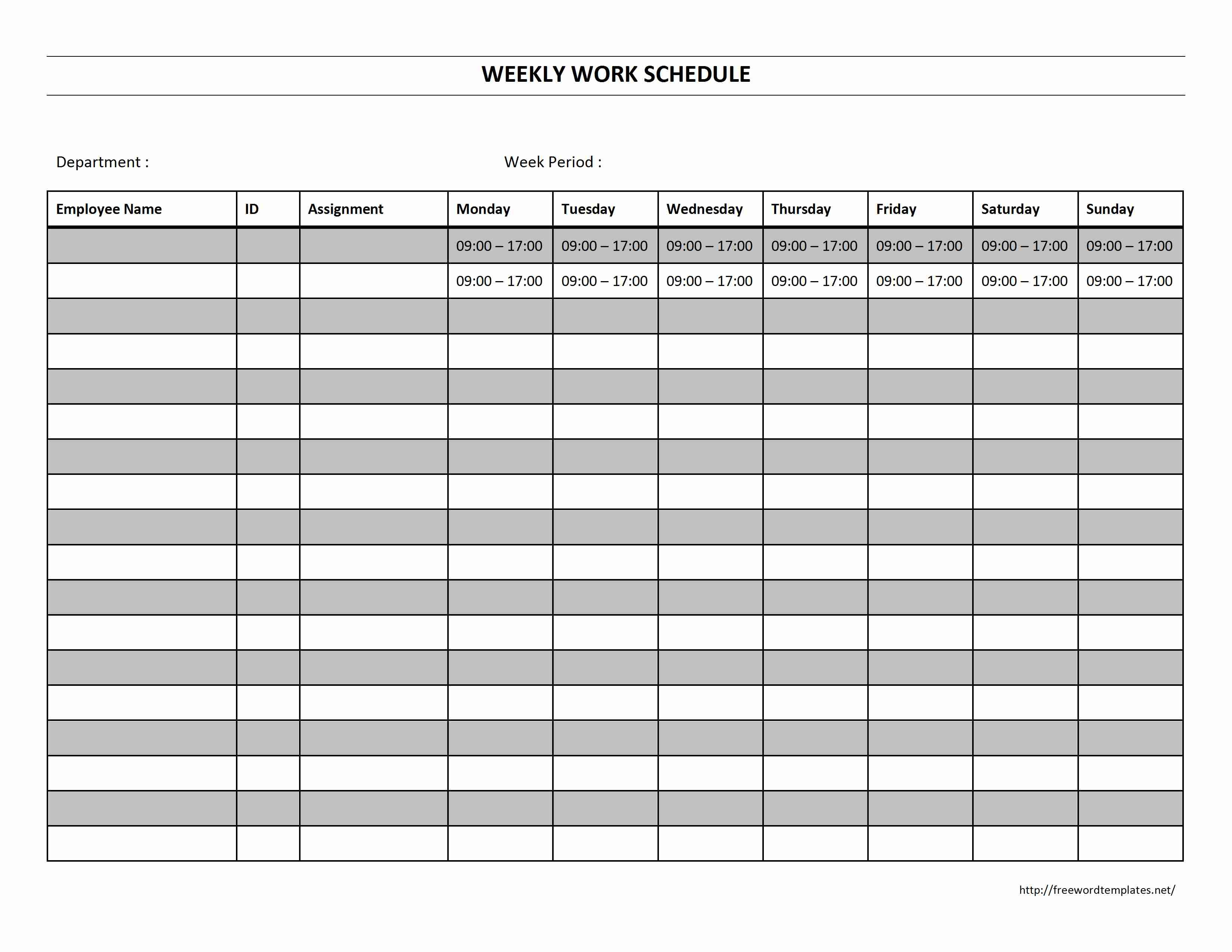 Free Employee Work Schedule Form Monthly Template Excel Weekly | Smorad - Free Printable Monthly Work Schedule Template