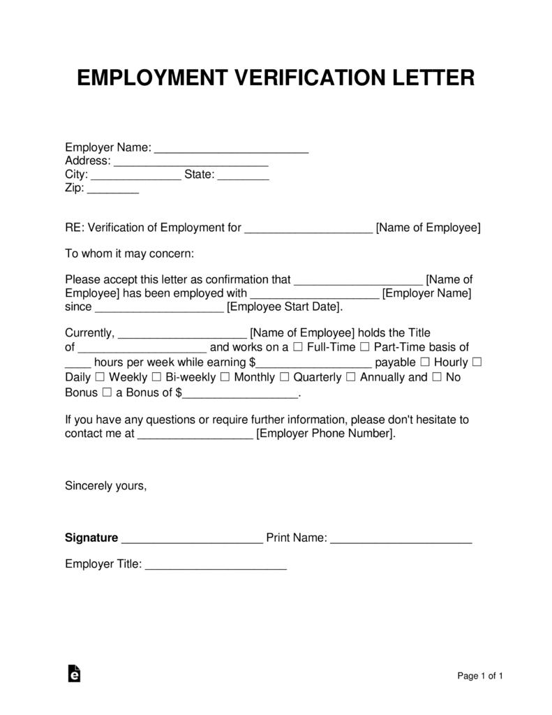 Free Employment (Income) Verification Letter - Pdf | Word | Eforms - Free Printable Employment Verification Letter