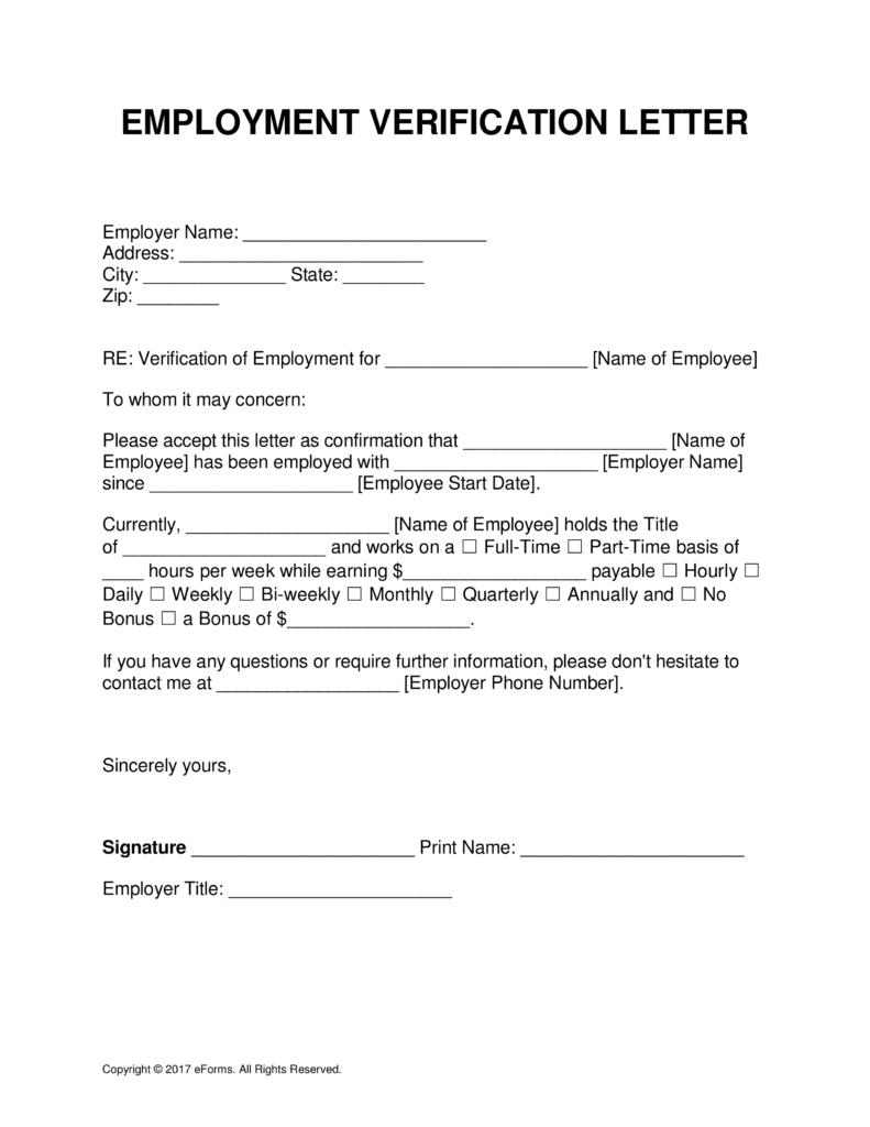 Free Employment (Income) Verification Letter Template - Pdf | Word - Free Printable Employment Verification Letter