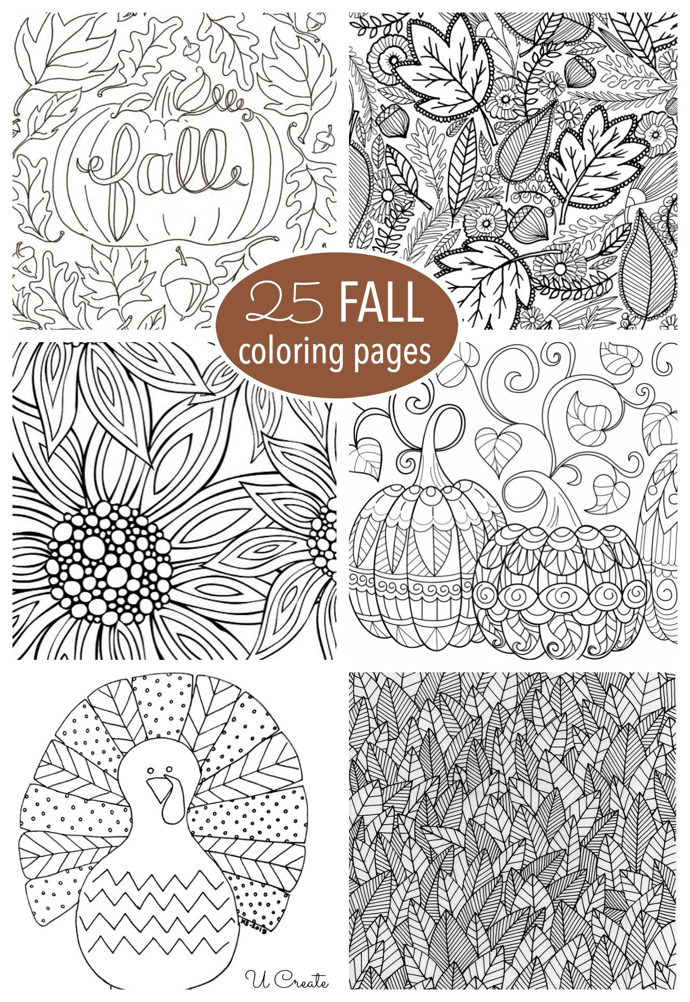 Free Fall Adult Coloring Pages - U Create - Fall Printable Coloring Pages Free