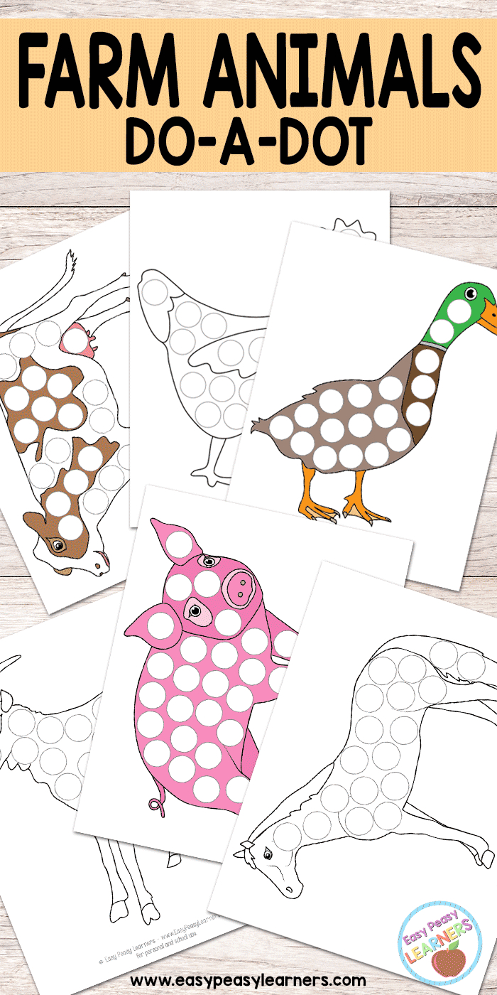 Free Farm Animals Do A Dot Printables - Easy Peasy Learners - Do A Dot Art Pages Free Printable